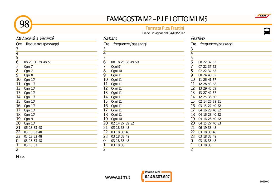 ufficiale più votato Promozione delle vendite moda Autobus 98 Milano : orari linea 98 ATM - fermata P.za Frattini